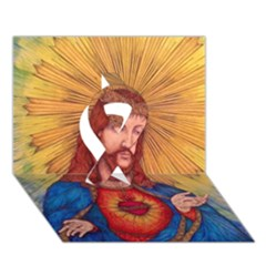 Sacred Heart Of Jesus Christ Drawing Ribbon 3d Greeting Card (7x5)  by KentChua