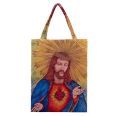 Sacred Heart Of Jesus Christ Drawing Classic Tote Bags by KentChua