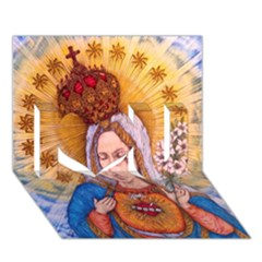 Immaculate Heart Of Virgin Mary Drawing I Love You 3d Greeting Card (7x5)  by KentChua