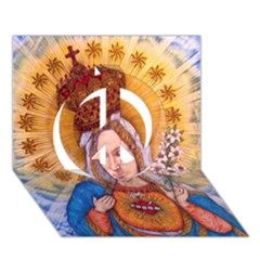Immaculate Heart Of Virgin Mary Drawing Peace Sign 3d Greeting Card (7x5)  by KentChua