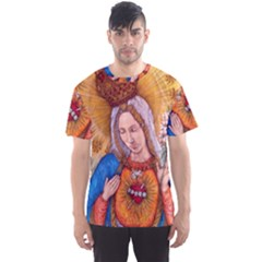 Immaculate Heart Of Virgin Mary Drawing Men s Sport Mesh Tee by KentChua