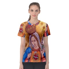 Immaculate Heart Of Virgin Mary Drawing Women s Sport Mesh Tee by KentChua