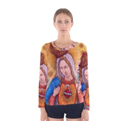 Immaculate Heart Of Virgin Mary Drawing Women s Long Sleeve Tee by KentChua