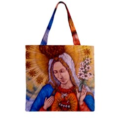 Immaculate Heart Of Virgin Mary Drawing Zipper Grocery Tote Bags by KentChua