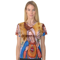 Immaculate Heart Of Virgin Mary Drawing Women s V Neck Sport Mesh Tee