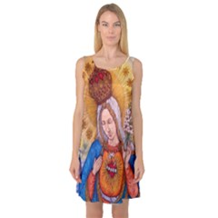 Immaculate Heart Of Virgin Mary Drawing Sleeveless Satin Nightdress by KentChua