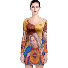 Immaculate Heart Of Virgin Mary Drawing Long Sleeve Velvet Bodycon Dress by KentChua