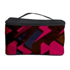 Brown Pink Blue Shapes Cosmetic Storage Case by LalyLauraFLM