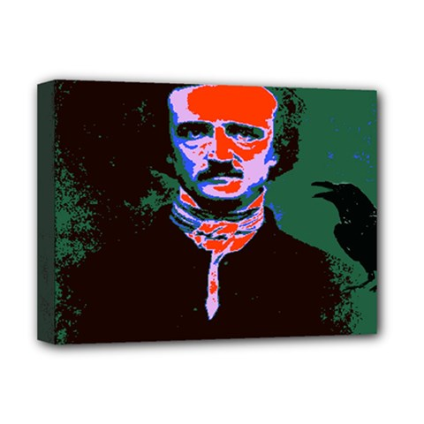 Edgar Allan Poe Pop Art  Deluxe Canvas 16  X 12   by icarusismartdesigns