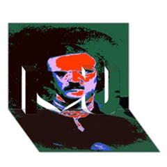Edgar Allan Poe Pop Art  I Love You 3d Greeting Card (7x5)  by icarusismartdesigns