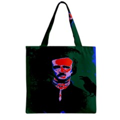 Edgar Allan Poe Pop Art  Grocery Tote Bags by icarusismartdesigns