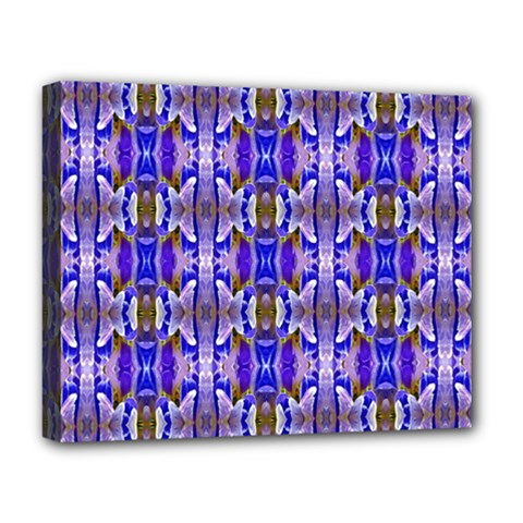 Blue White Abstract Flower Pattern Deluxe Canvas 20  X 16   by Costasonlineshop