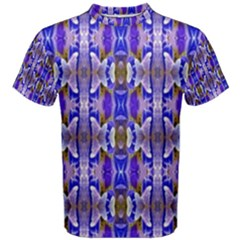 Blue White Abstract Flower Pattern Men s Cotton Tee by Costasonlineshop