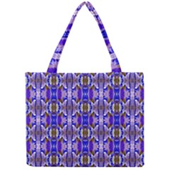 Blue White Abstract Flower Pattern Tiny Tote Bags by Costasonlineshop