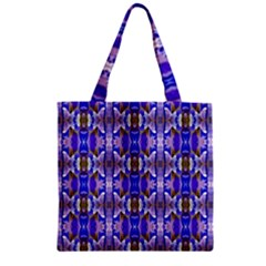 Blue White Abstract Flower Pattern Zipper Grocery Tote Bags by Costasonlineshop