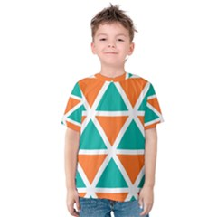 Orange Green Triangles Pattern Kid s Cotton Tee by LalyLauraFLM