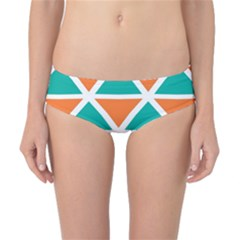 Orange Green Triangles Pattern Classic Bikini Bottoms by LalyLauraFLM