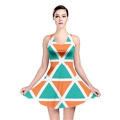 Orange Green Triangles Pattern Reversible Skater Dress by LalyLauraFLM