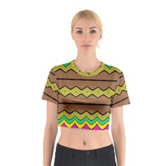 Rhombus And Waves Cotton Crop Top by LalyLauraFLM