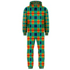 Squares In Retro Colors Pattern Hooded Jumpsuit (men) by LalyLauraFLM