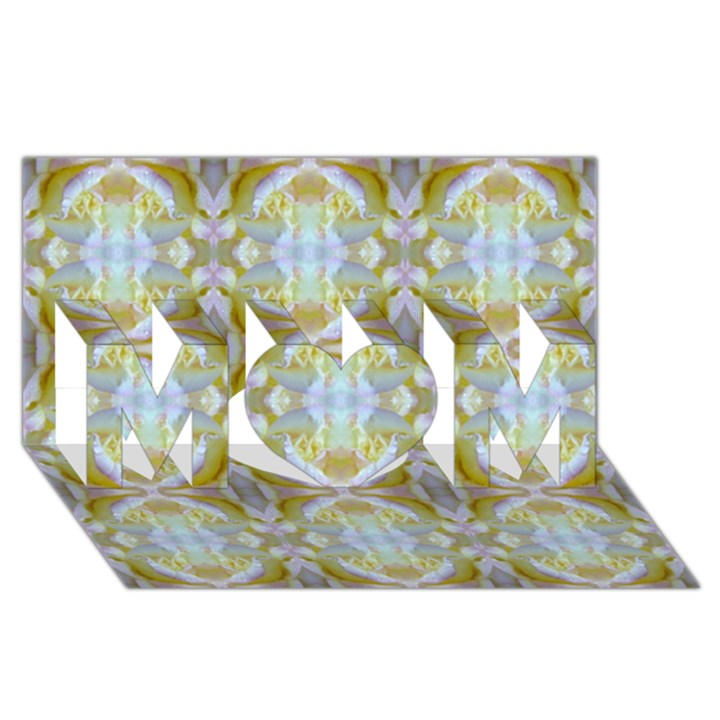 Beautiful White Yellow Rose Pattern MOM 3D Greeting Card (8x4)