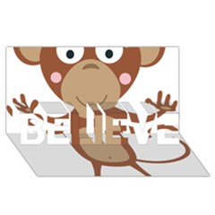 Female Monkey With Flower Believe 3d Greeting Card (8x4)  by ilovecotton