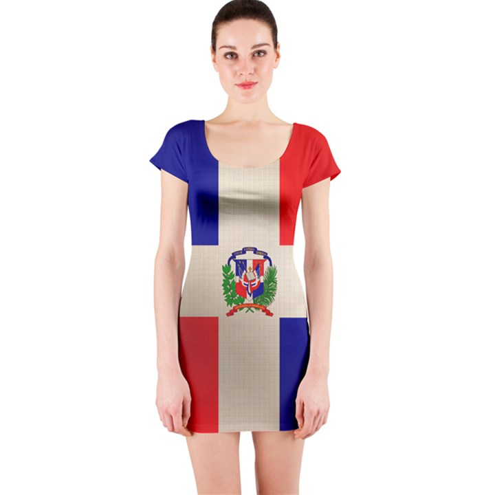 Dominican Republic Flag Short Sleeve Bodycon Dress