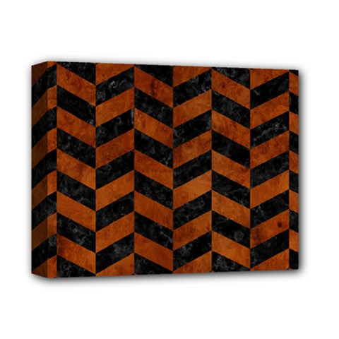 Chevron1 Black Marble & Brown Burl Wood Deluxe Canvas 14  X 11  (stretched) by trendistuff