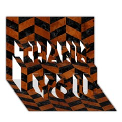 Chevron1 Black Marble & Brown Burl Wood Thank You 3d Greeting Card (7x5) by trendistuff