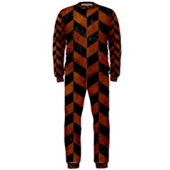 Chevron1 Black Marble & Brown Burl Wood Onepiece Jumpsuit (men) by trendistuff