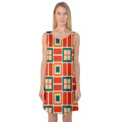Squares And Rectangles In Retro Colors Sleeveless Satin Nightdress