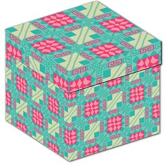 Pink Flowers In Squares Pattern Storage Stool by LalyLauraFLM