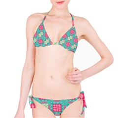 Pink Flowers In Squares Pattern Bikini Set by LalyLauraFLM