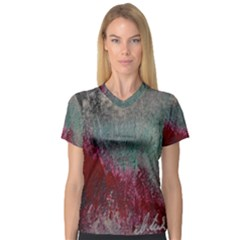 Metallic Abstract 1 Women s V Neck Sport Mesh Tee by timelessartoncanvas