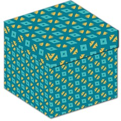 Blue Yellow Shapes Pattern Storage Stool by LalyLauraFLM
