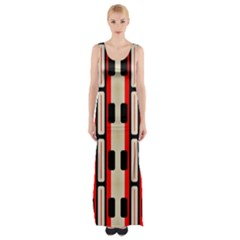 Rectangles And Stripes Pattern Maxi Thigh Split Dress by LalyLauraFLM