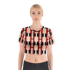 Rectangles And Stripes Pattern Cotton Crop Top by LalyLauraFLM
