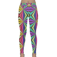 Connected Shapes In Retro Colors  Yoga Leggings by LalyLauraFLM