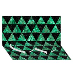 Triangle3 Black Marble & Green Marble Twin Heart Bottom 3d Greeting Card (8x4) by trendistuff