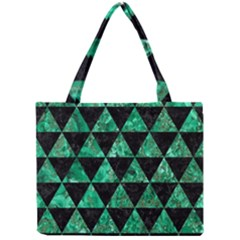 Triangle3 Black Marble & Green Marble Mini Tote Bag by trendistuff