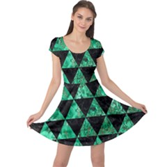 Triangle3 Black Marble & Green Marble Cap Sleeve Dress by trendistuff