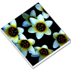 Light Blue Flowers On A Black Background Small Memo Pads by Costasonlineshop