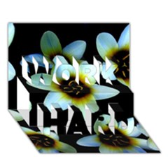 Light Blue Flowers On A Black Background Work Hard 3d Greeting Card (7x5)  by Costasonlineshop