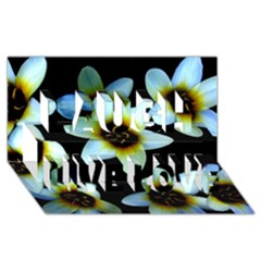 Light Blue Flowers On A Black Background Laugh Live Love 3d Greeting Card (8x4)  by Costasonlineshop