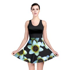 Light Blue Flowers On A Black Background Reversible Skater Dress by Costasonlineshop