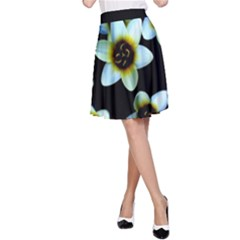 Light Blue Flowers On A Black Background A Line Skirt by Costasonlineshop
