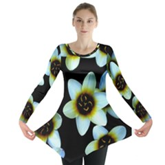 Light Blue Flowers On A Black Background Long Sleeve Tunic  by Costasonlineshop