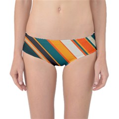 Diagonal Stripes In Retro Colors Classic Bikini Bottoms by LalyLauraFLM