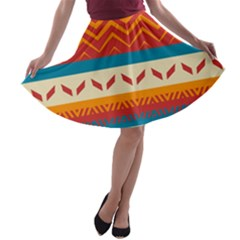 Tribal Shapes  A Line Skater Skirt