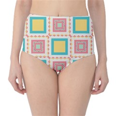 Pastel Squares Pattern High Waist Bikini Bottoms